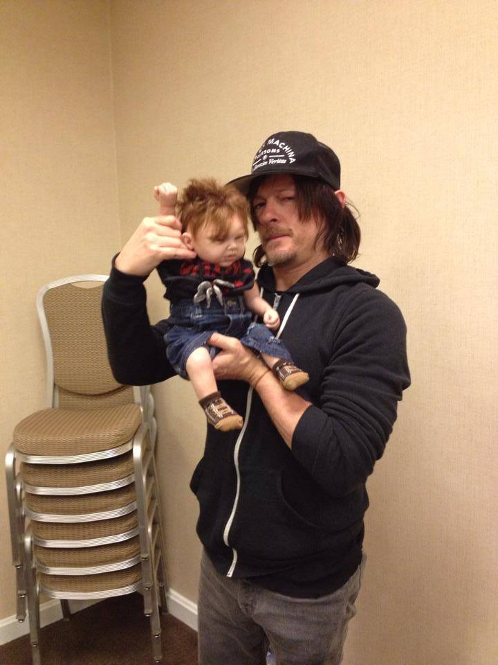 Norman Reedus with baby Daryl